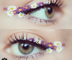 daydream, eyes, and flowers image