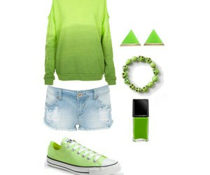 beach, green, and outfit image