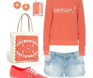 beach, coral, and outfit image