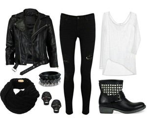 black, Polyvore, and outfit image