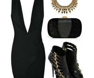 black, gold, and outfit image