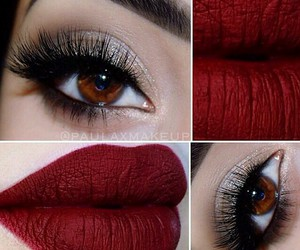 eyes, lips, and red image
