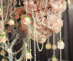 rose, flowers, and pearls image
