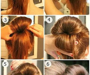 hair, bun, and tutorial image