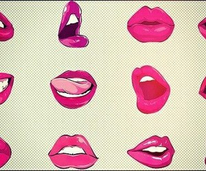 lips, pink, and kiss image