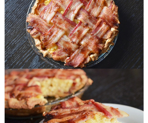 food, bacon, and pie image