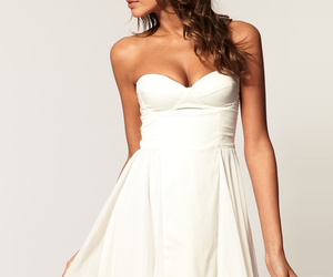beauty, brunette, and white dress image