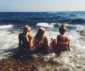 beach, best friends, and ocean image