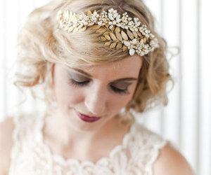 headband, vintage, and wedding image