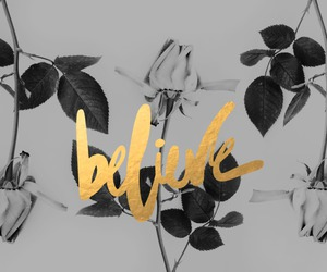 believe, gold, and black and white image