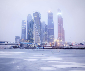 city, dusk, and moscow image