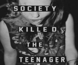 society, teenager, and black and white image