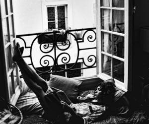 bedroom, window, and black and white image