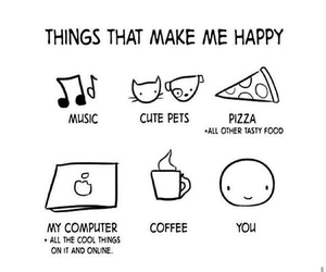 music, pizza, and coffee image