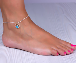 something blue, bridesmaid jewelry, and sterling silver anklet image