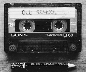black and white, cassette, and cassette tape image