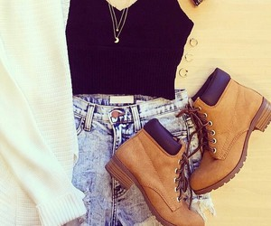 boots, shorts, and ootd image