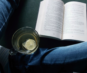 book, legs, and tea and book image