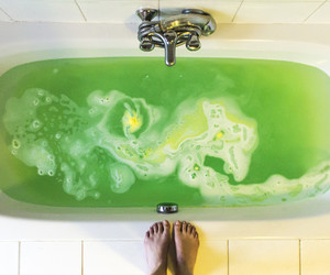 feet, bath, and green image