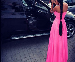 dress, pink, and long hair image