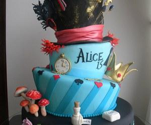 cake, alice in wonderland, and alice image