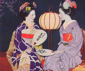 asian girls, geisha, and vintage image