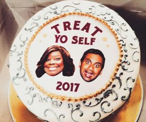 parks and rec, 2017, and treat yo self image