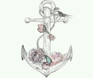 anchor, flowers, and art image