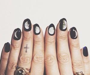 nails, moon, and black image