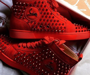 red, louboutin, and shoes image