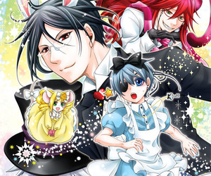 alice, black butler, and chesire cat image