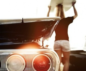 girl, surf, and car image