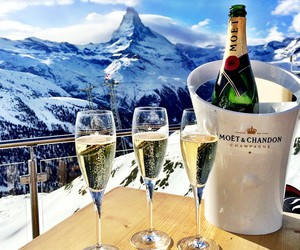 mountains, champagne, and luxury image