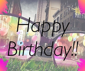 city, colors, and happy birthday image