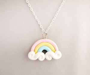 kawaii, necklace, and rainbow image