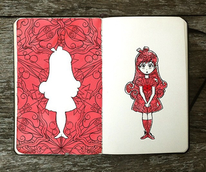 drawing, girl, and red image
