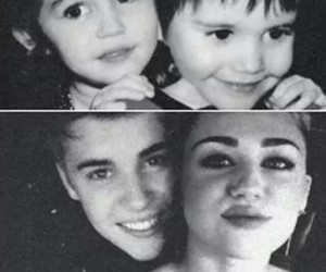 back and white, miley cyrus, and justin bieber image