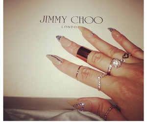 nails, Jimmy Choo, and rings image