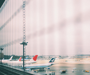 plane, airport, and photography image
