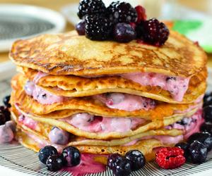 berries, morning, and pancakes image