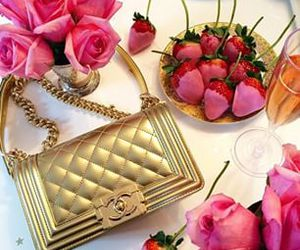 chanel, strawberries, and roses image