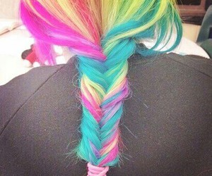 braid, rainbow colors, and colorful hair image