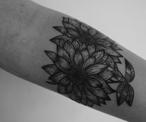 flores, sunflower, and tattoo image