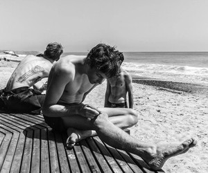 boy, beach, and black and white image