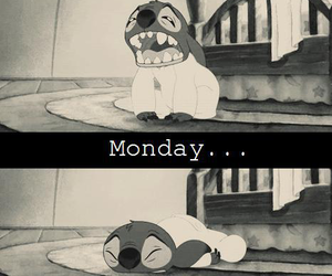 monday, stitch, and black and white image