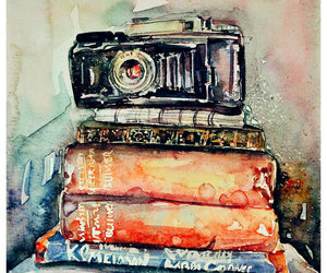 books, camera, and drawing image