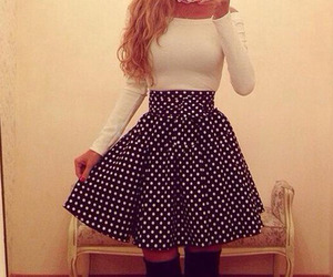 dress, long hair, and polka dot image