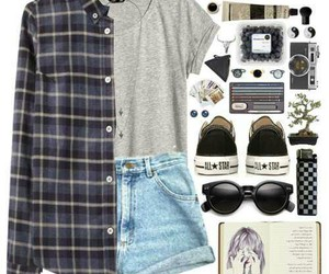 clothes, converse, and flannel image