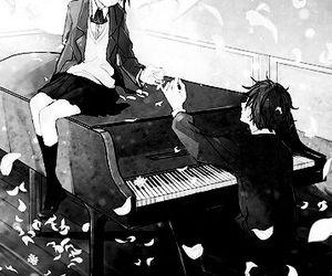 anime, piano, and manga image