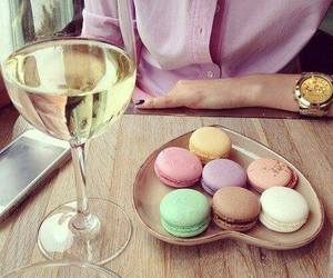 food, wine, and macarons image
